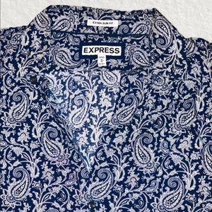 Express Men's Navy Paisley L/S Dress Shirt